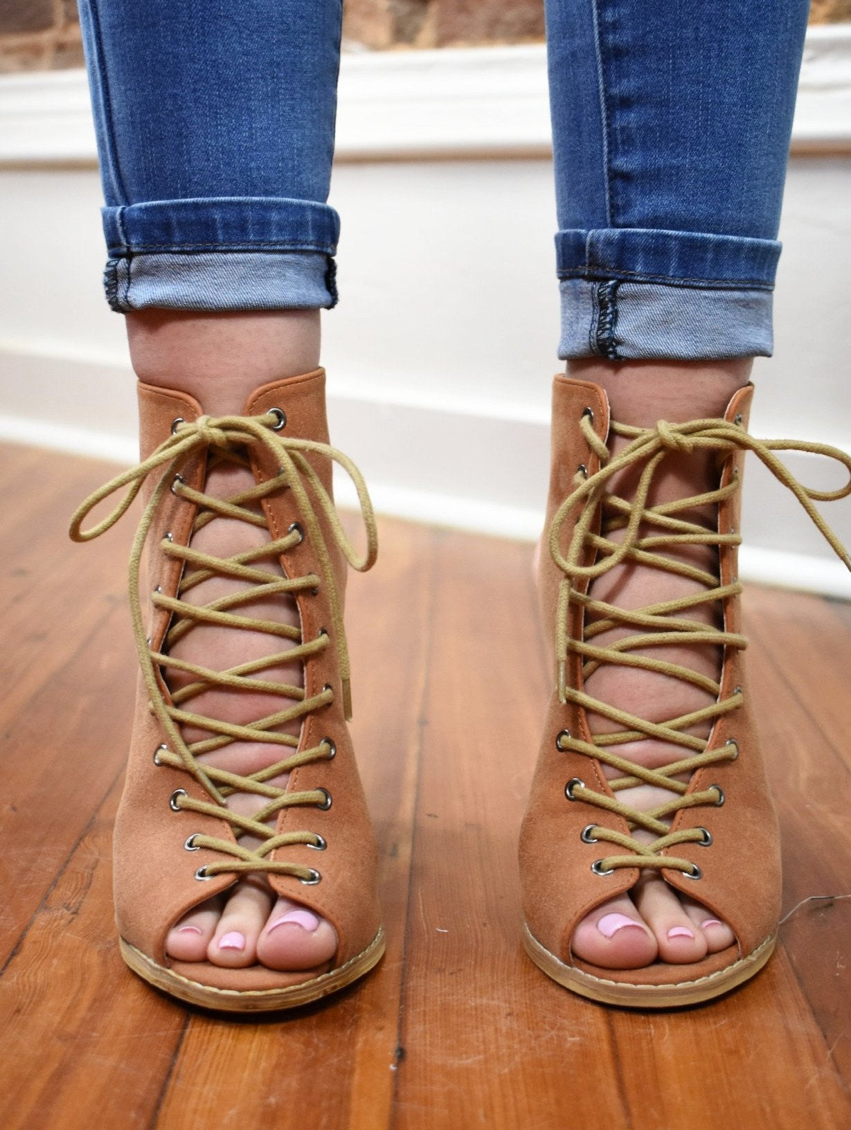 Lace Up Bootie - Camel