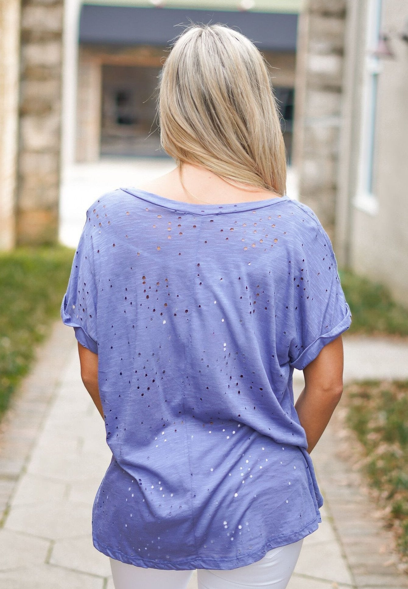 Distressed Tee - Navy