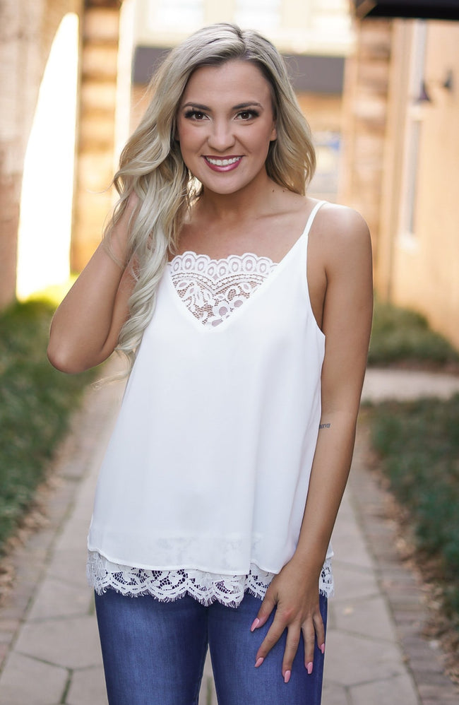 Coconut Lace Cami - White