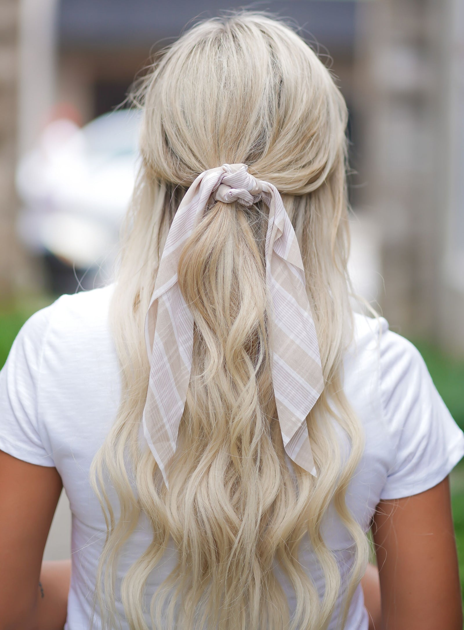 Beige Striped Hair Scarf