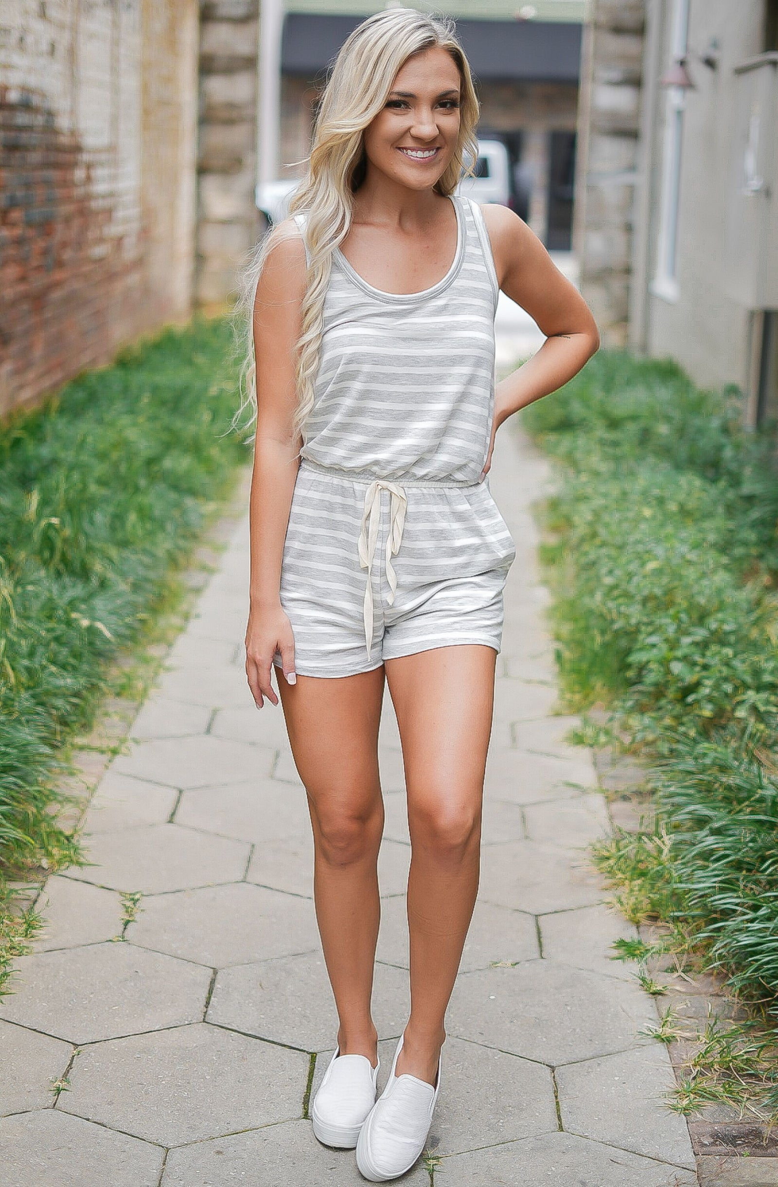 Stuck On You Striped Romper