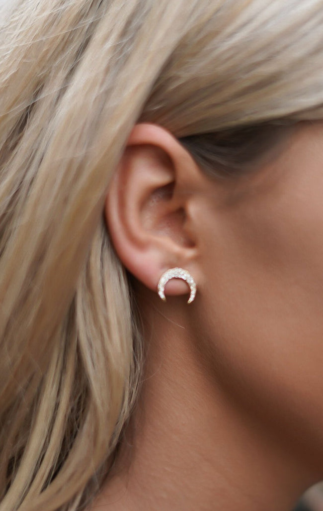 Crescent Earrings - Rose Gold