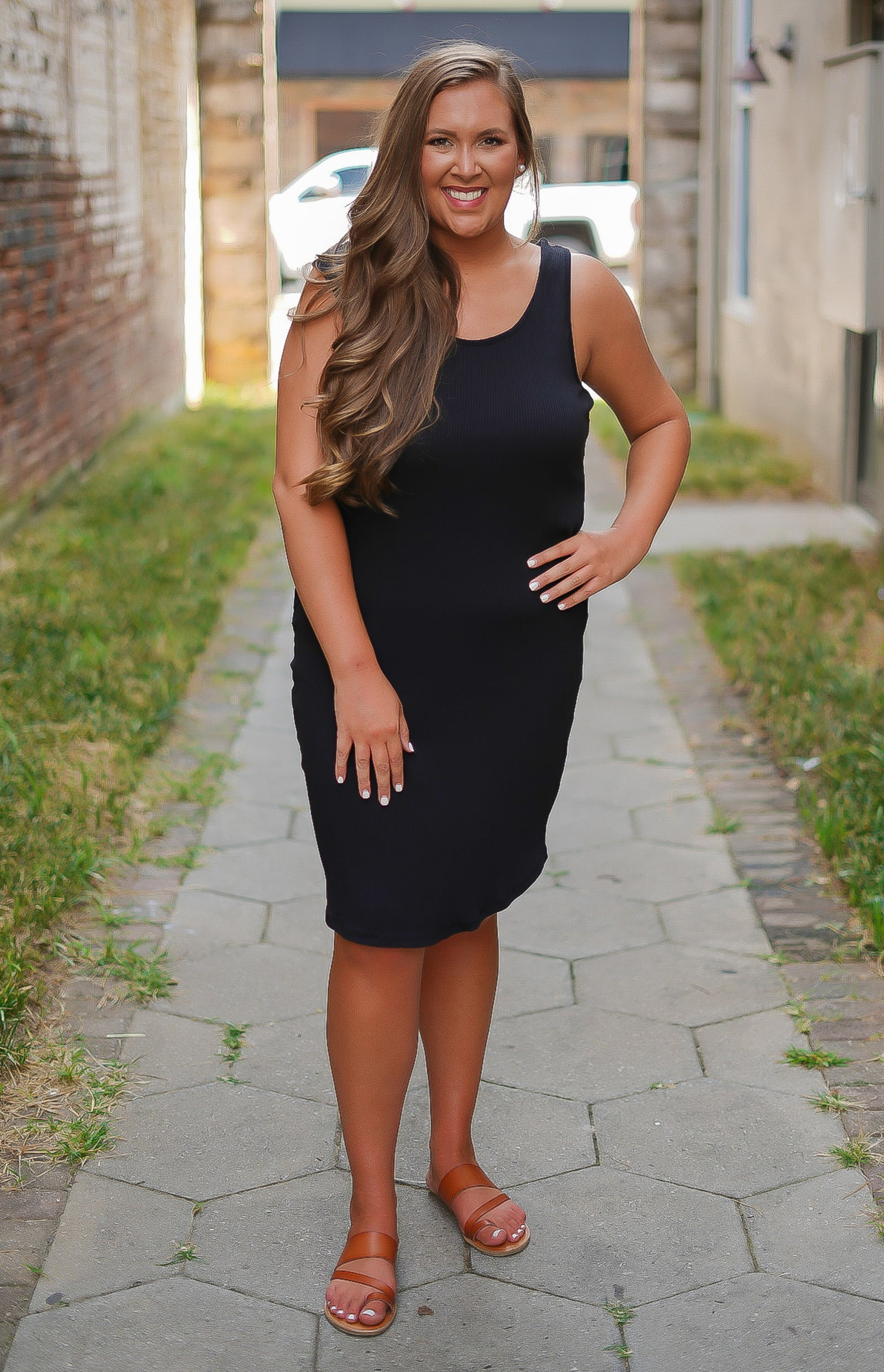 Lucky You Lace Up Dress - Black