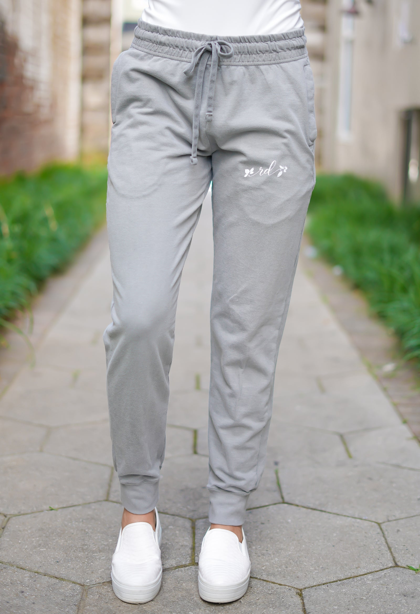 Rosie Daze Logo Terry Jogger Pants - Grey
