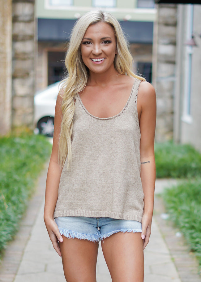 Fife Sweater Top - Taupe