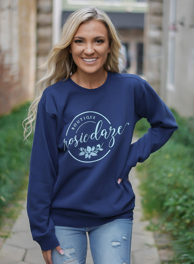 Rosie Daze Logo Sweatshirt - True Navy