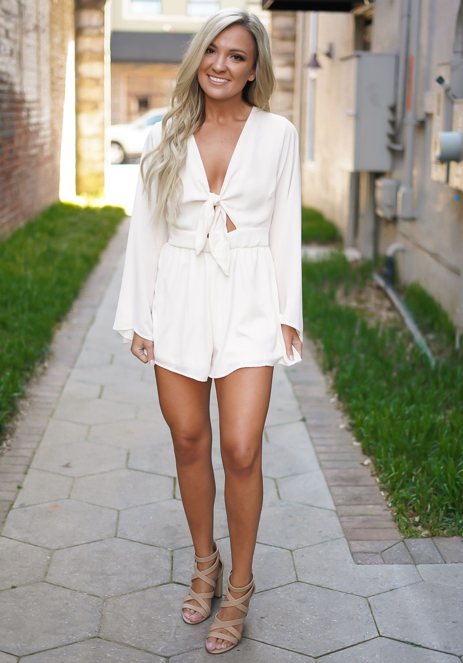 Sea Salt Romper - Peach