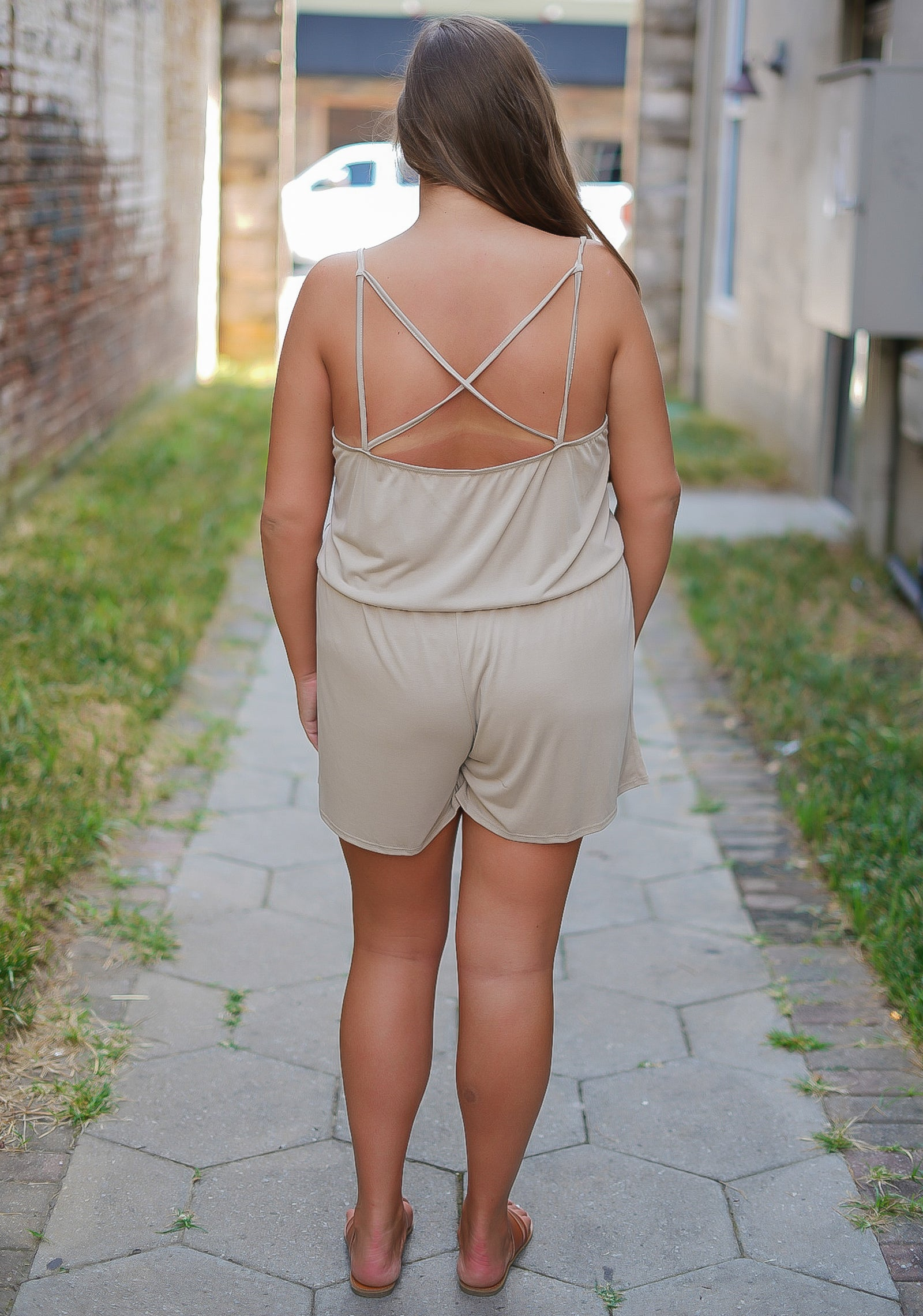 Laters Babe Romper - Curvy - Taupe
