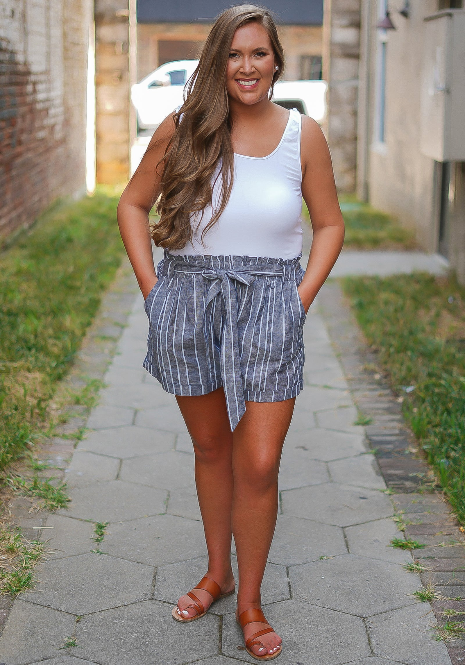 All Natural Striped Shorts - Navy