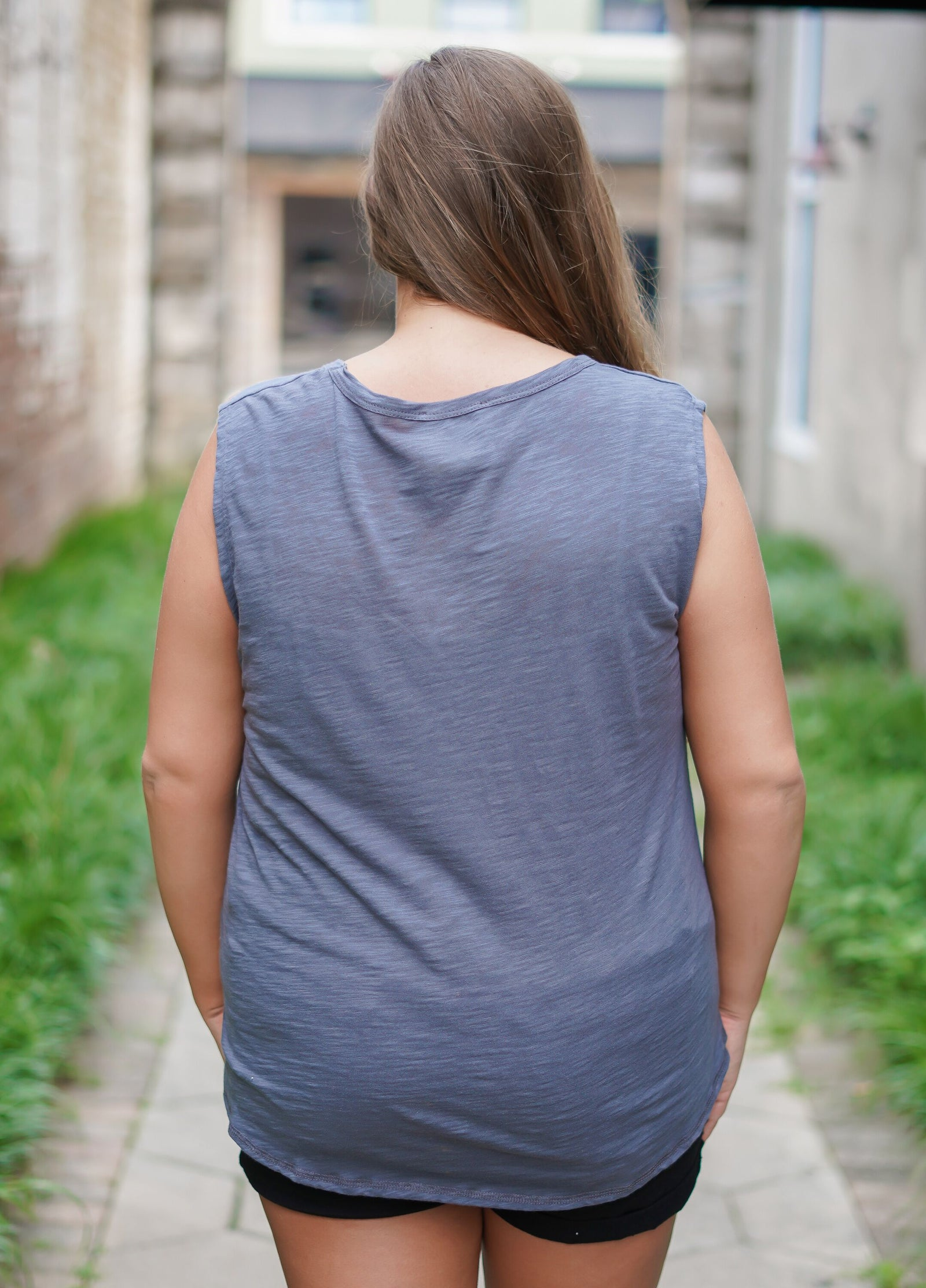 Hit My Line Distressed Tank - Curvy - Charcoal