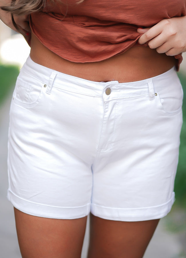 Reyna White Denim Shorts - Curvy