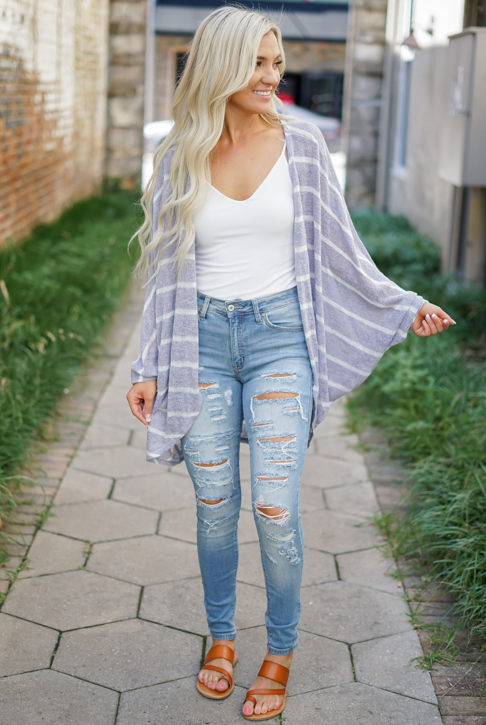 Stone Striped Cardigan - Grey