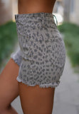 Grey Leopard KanCan Shorts