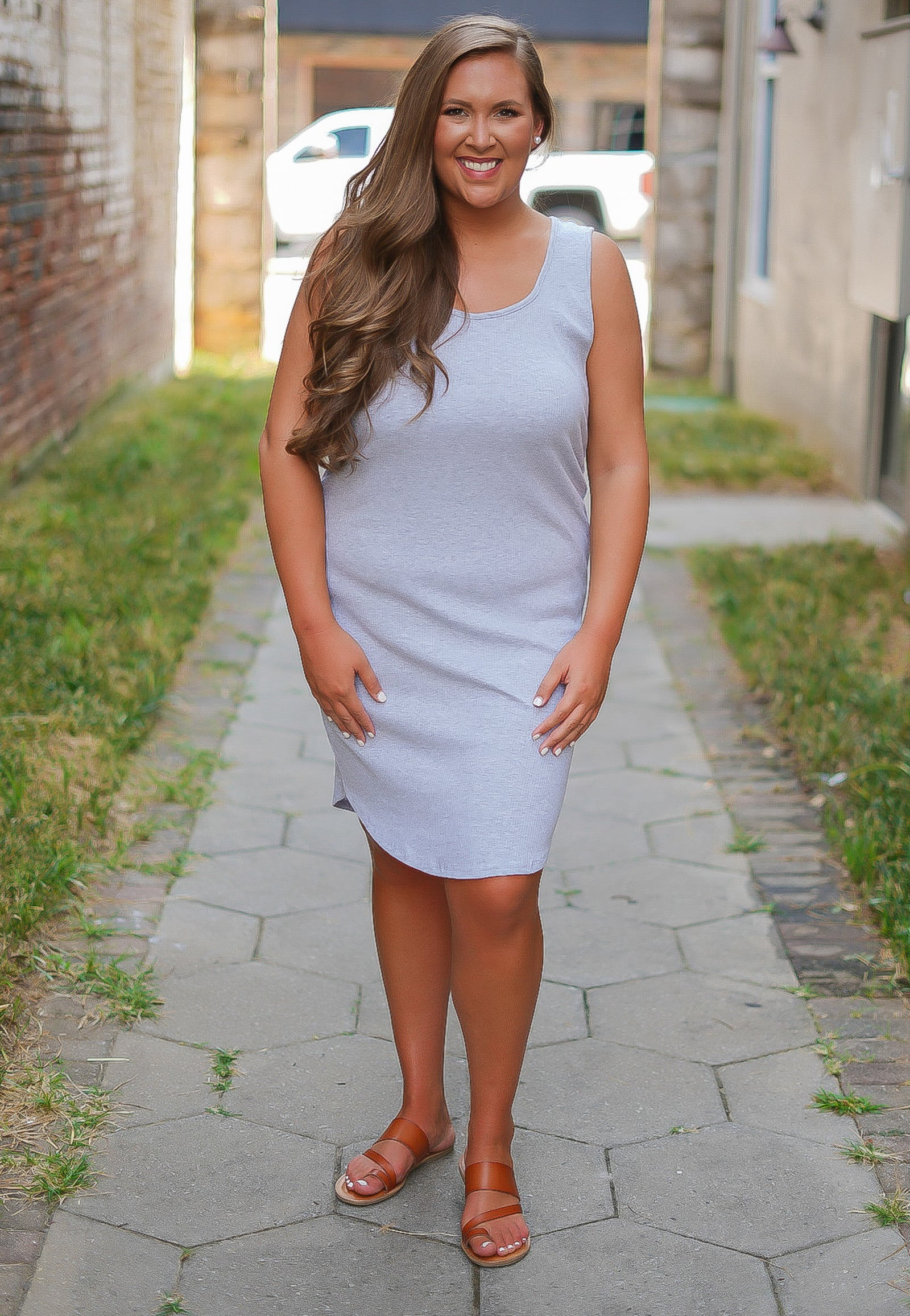 Lucky You Lace Up Dress - Grey