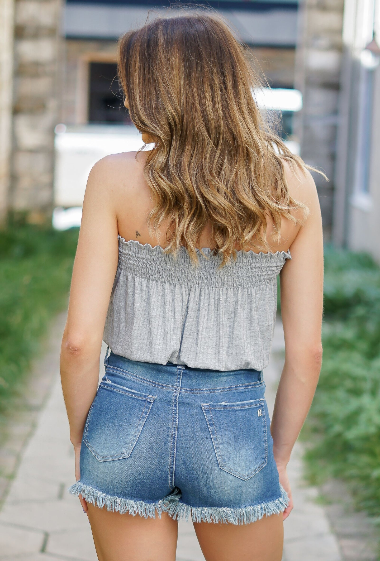 Smocked Tube Top - Grey
