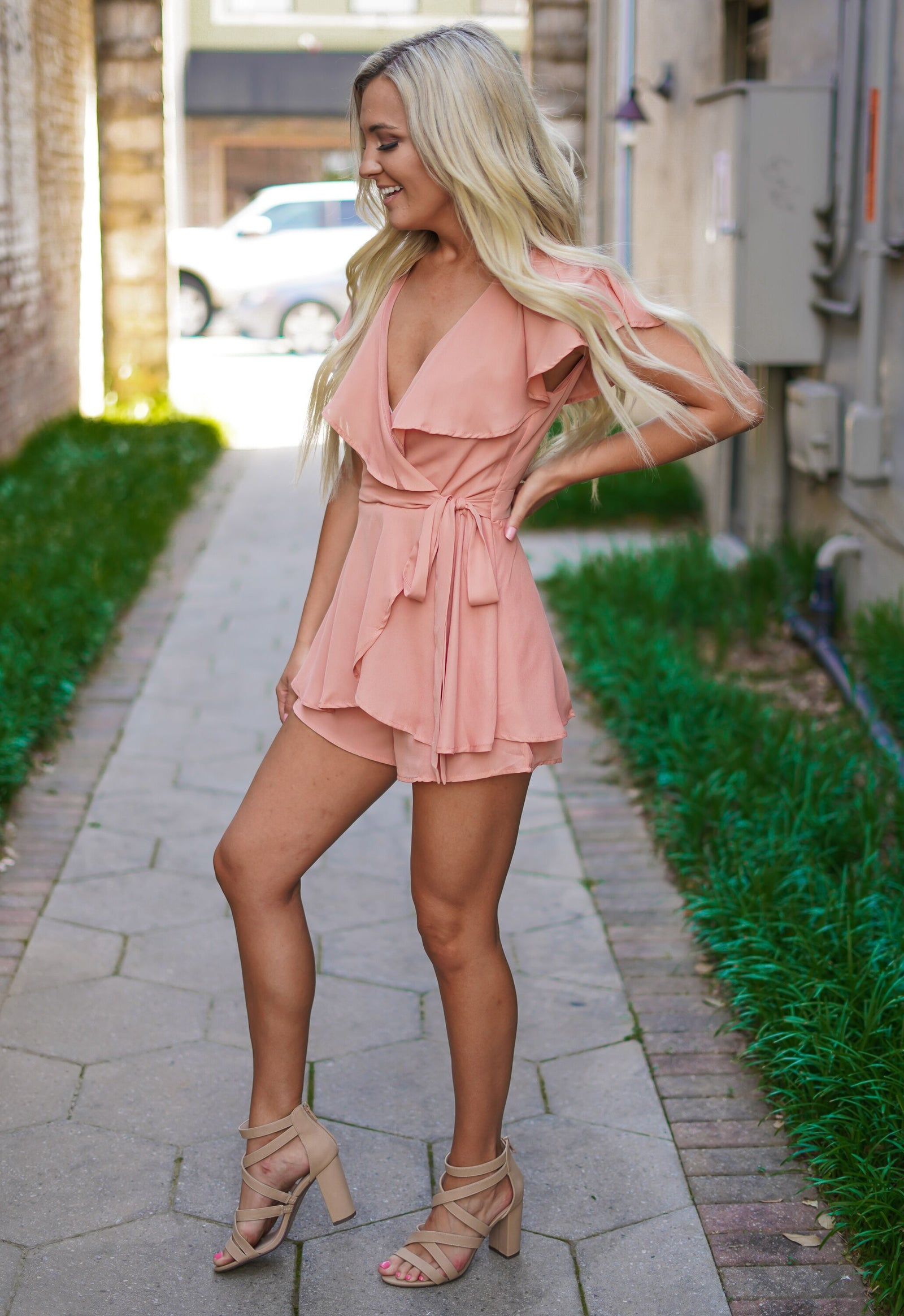 Wrap It Romper - Clay