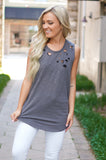 Hit My Line Distressed Tank