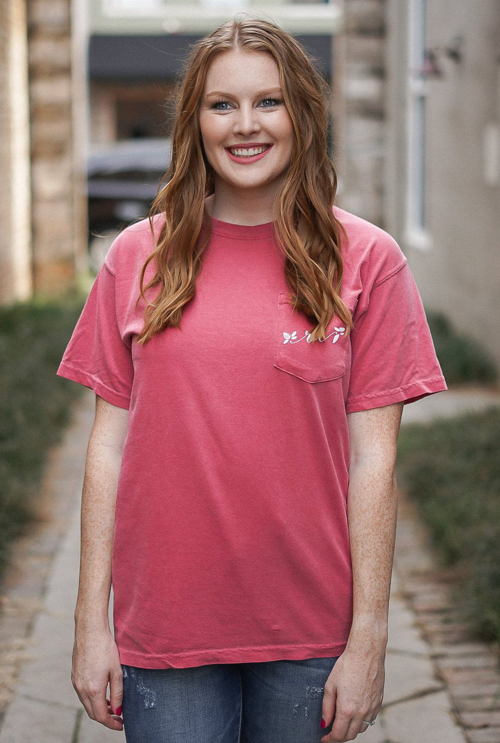 Rosie Daze Short Sleeve Pocket Tee - Crimson