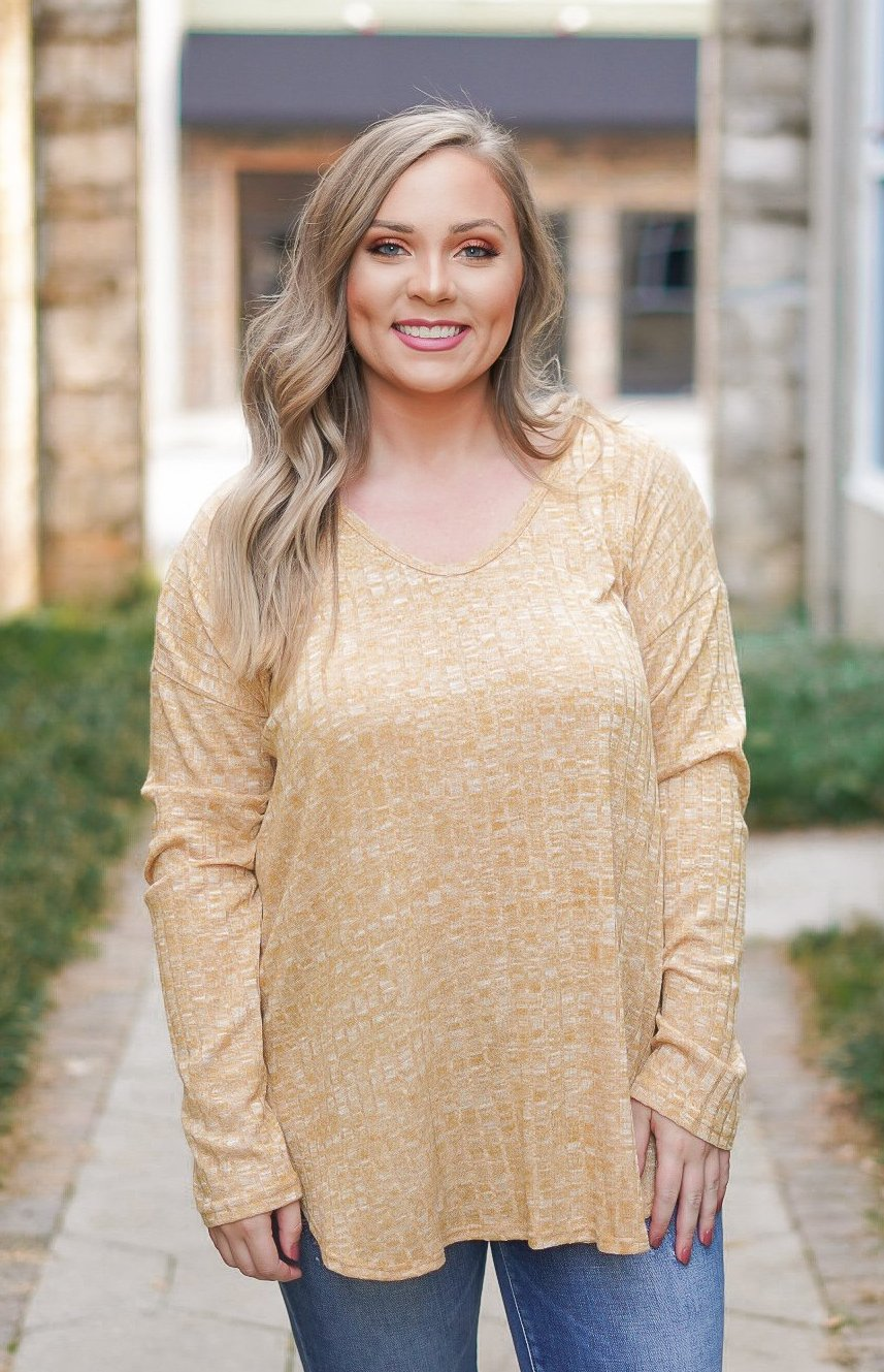 Raven Lace Up Top - Mustard