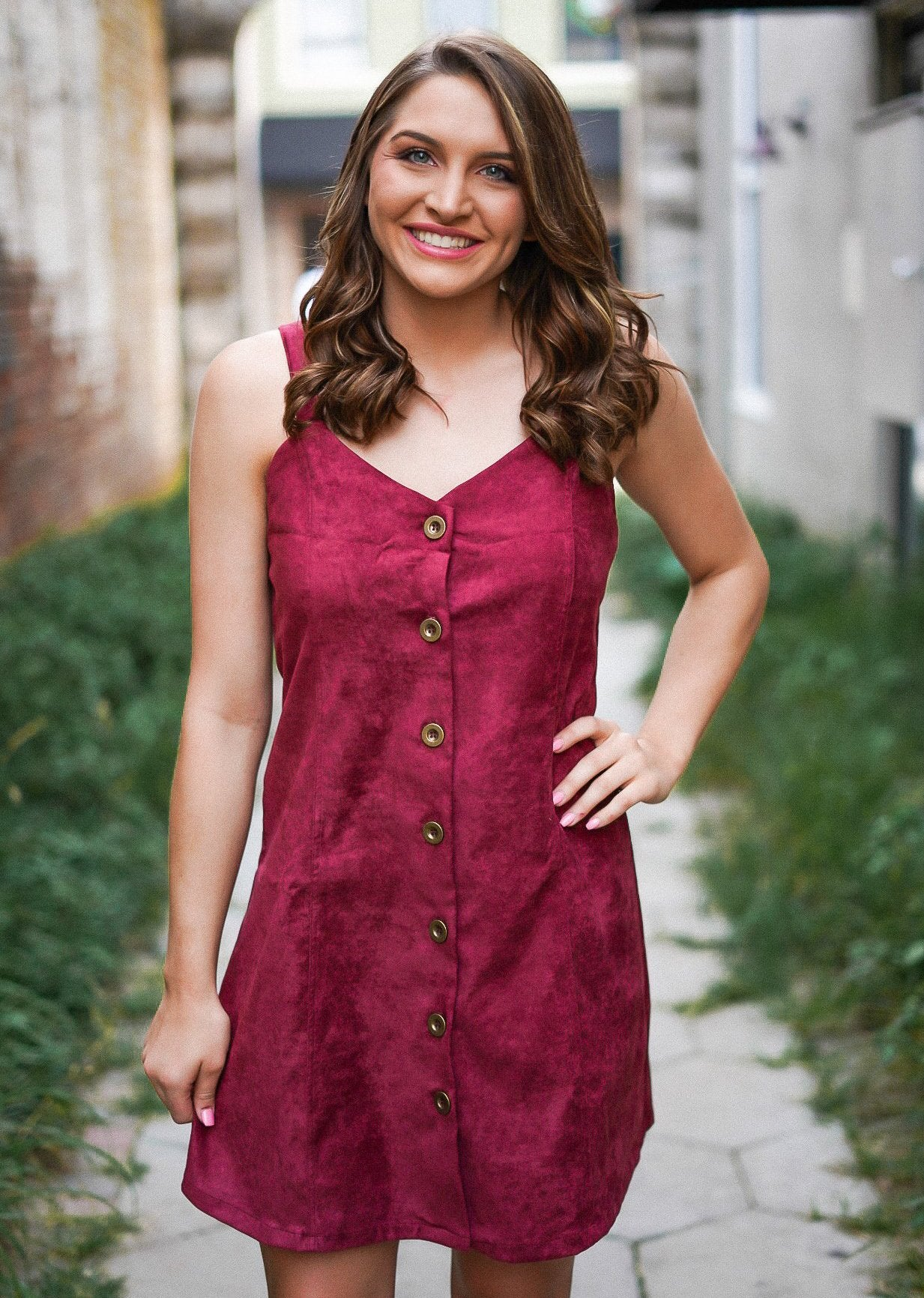 One Wish Faux Suede Dress - Maroon