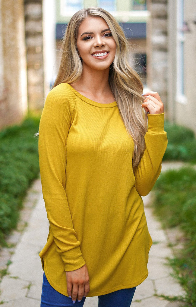 Hooked On You Knit Top - Mustard