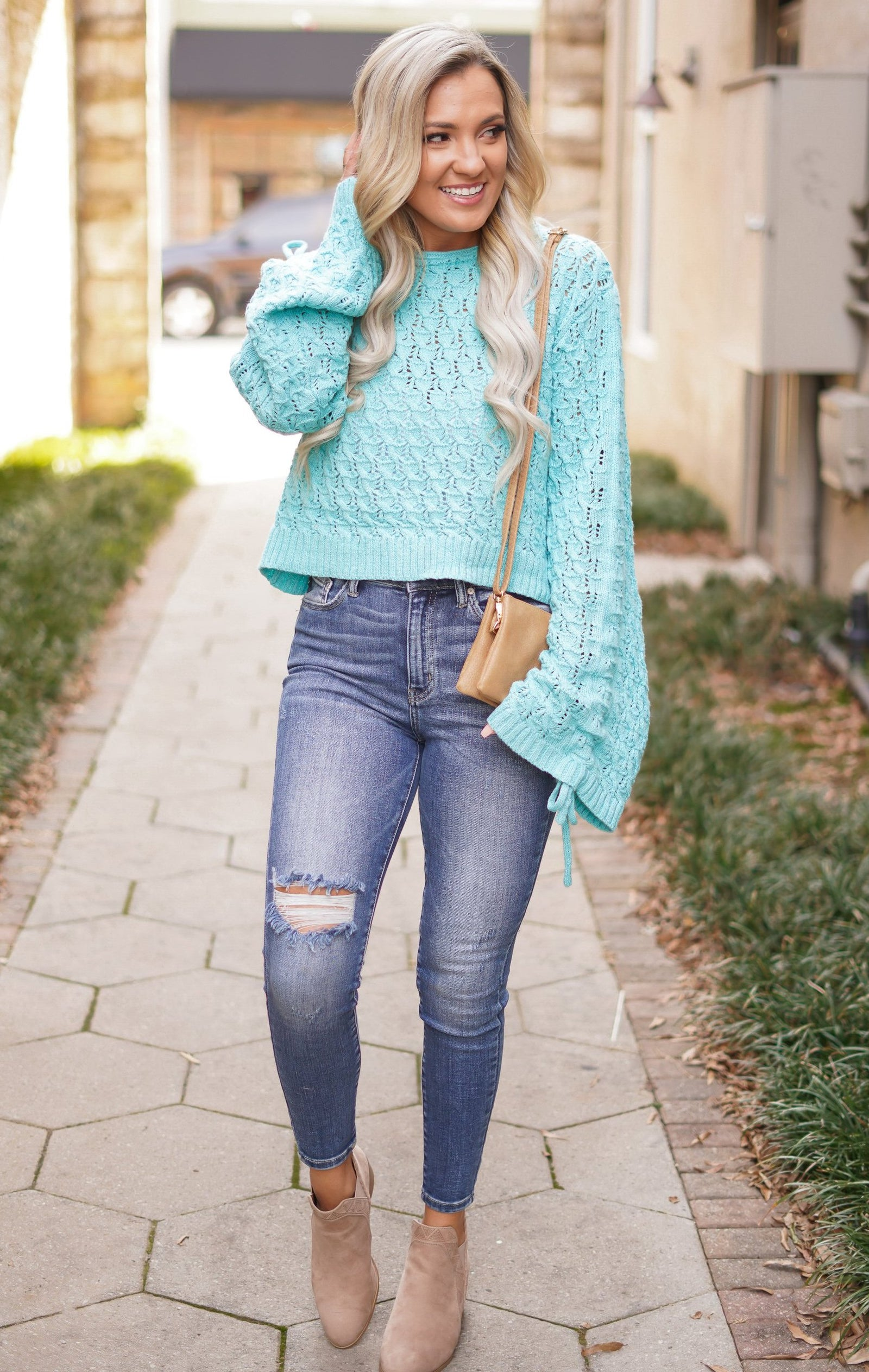 Cinched Puff Sleeve Sweater