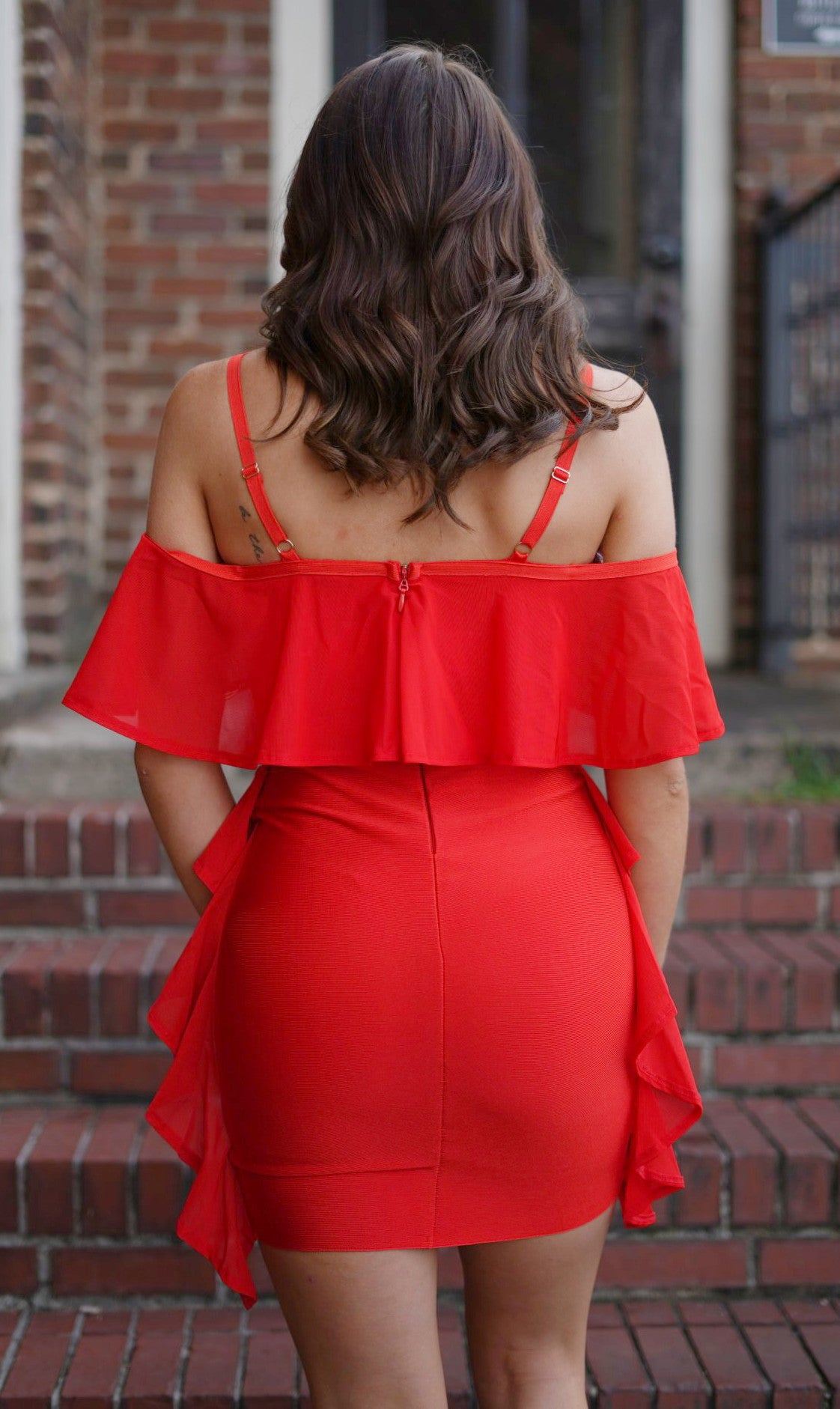 Kalina Cold Shoulder Dress - Red