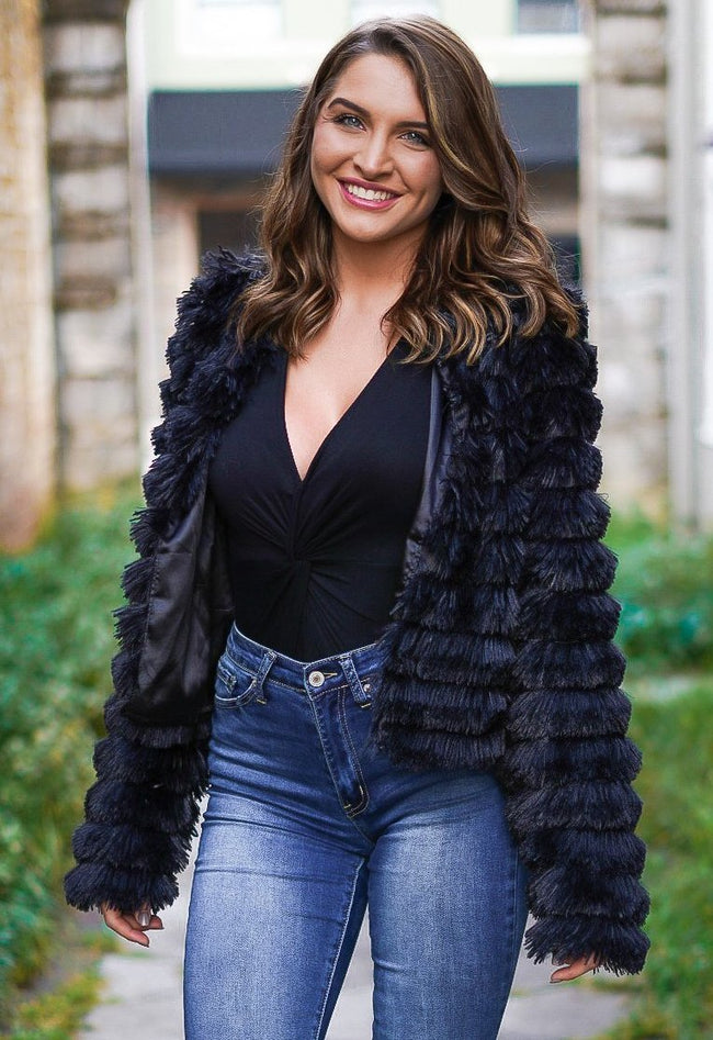 Farrah Faux Fur Jacket - Black