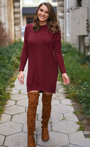 Lace Up Sweater Dress - Pink
