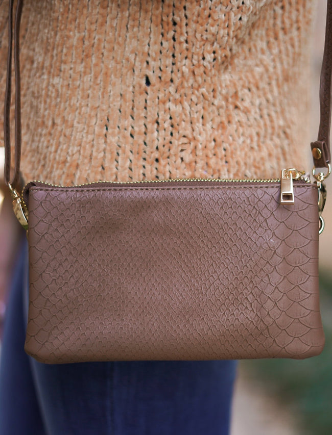 Liz Custom Collection Crossbody - Brown Snake