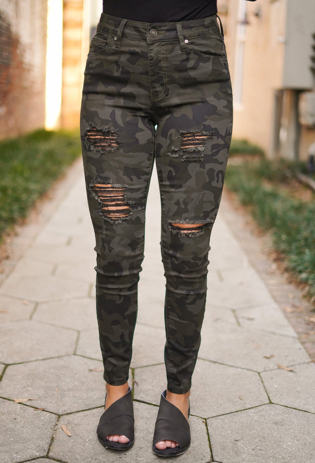 Deep Camo Distressed Skinnies
