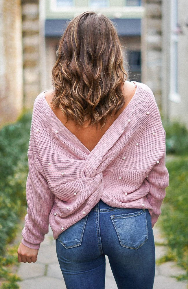 Starting Over Pearl Studded Sweater