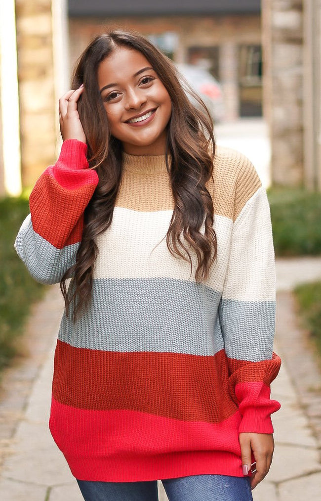 Keep It Spicy Color block Sweater
