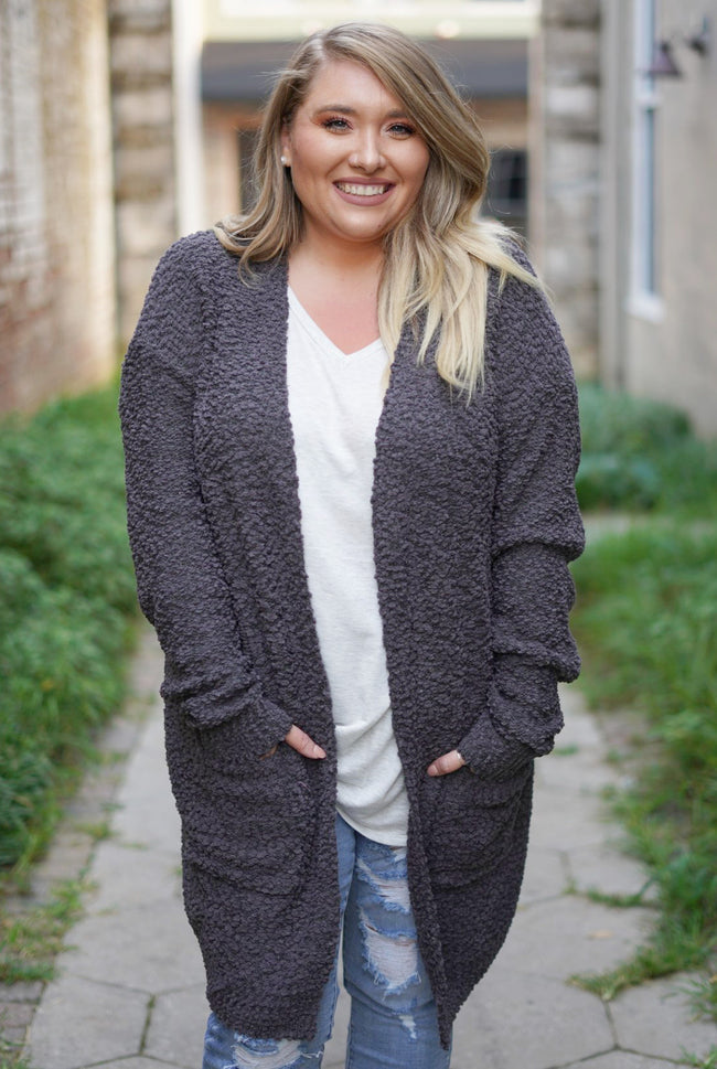 One Kiss Curvy Cardigan - Charcoal