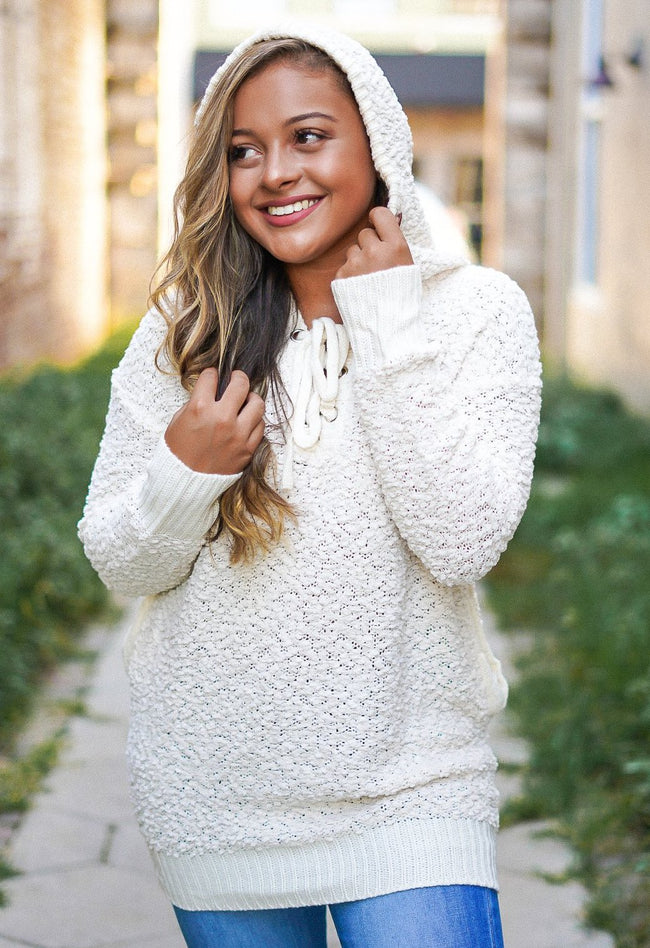 Speechless Lace Up Sweater - Ivory