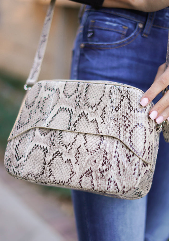 Snakeskin Camera Crossbody Bag