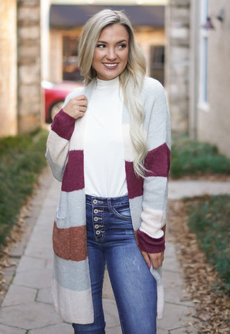 One Kiss Curvy Cardigan - Mauve