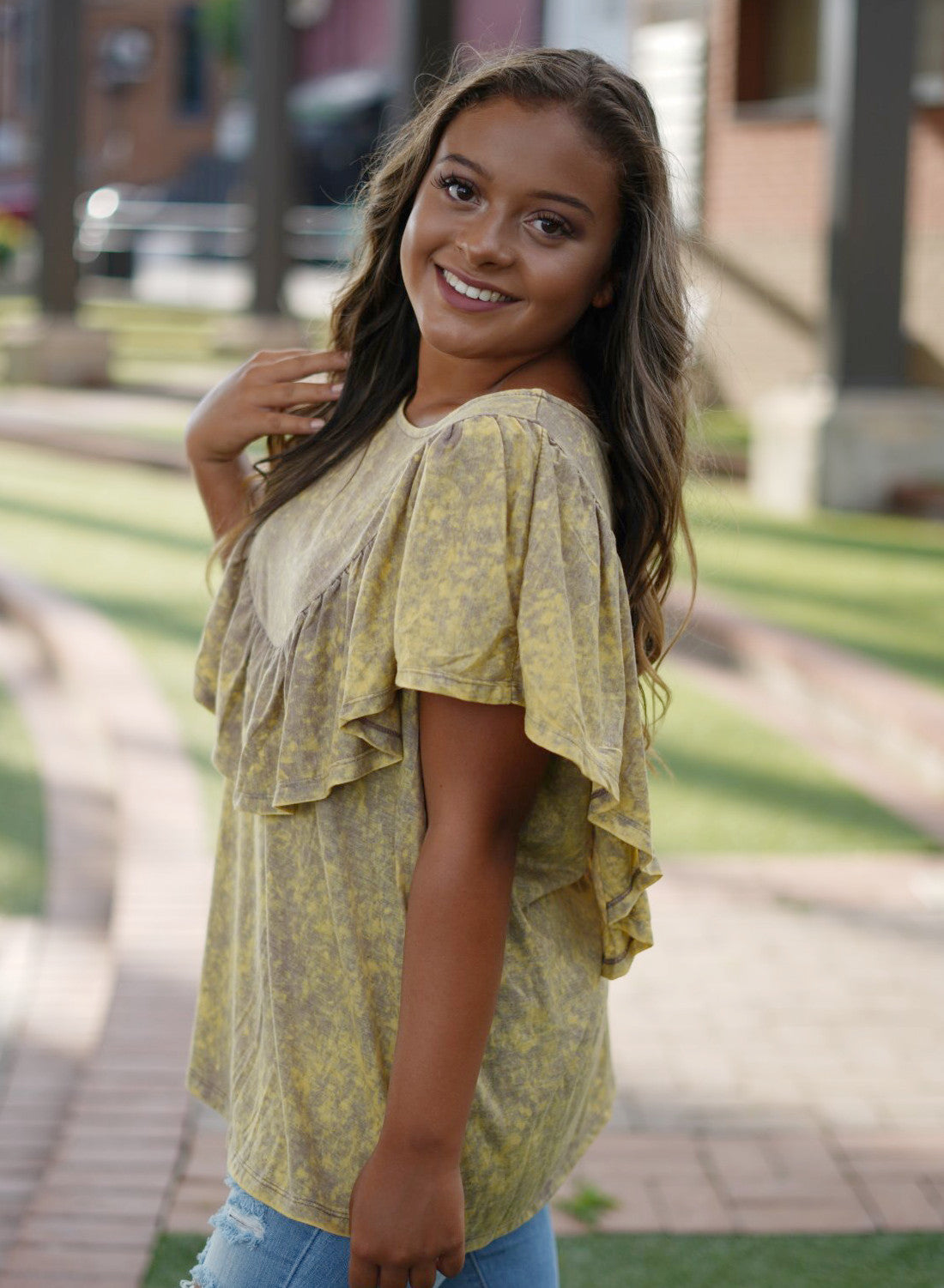 Acid Washed Ruffle Top - Mustard
