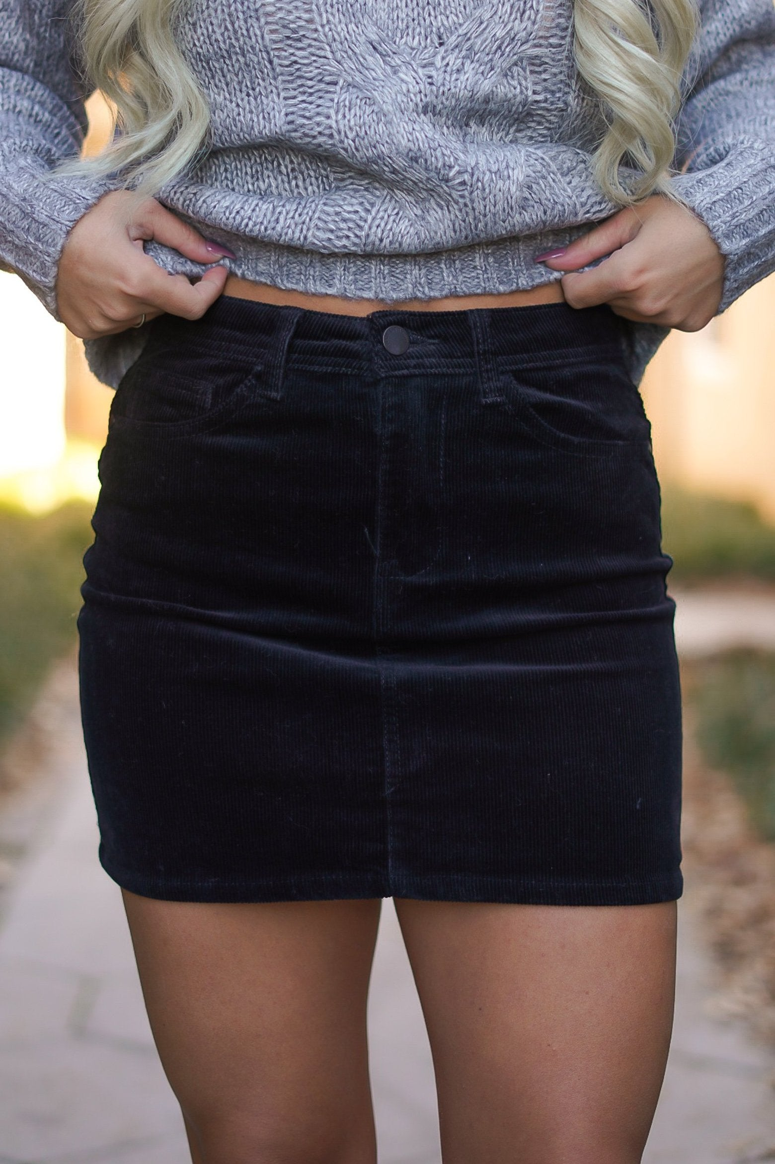 Corduroy Mini Skirt - Black