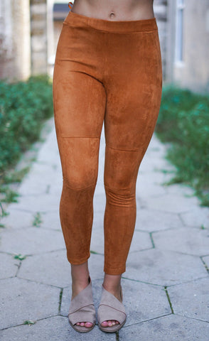 Kiss Somebody Faux Suede Leggings - Taupe