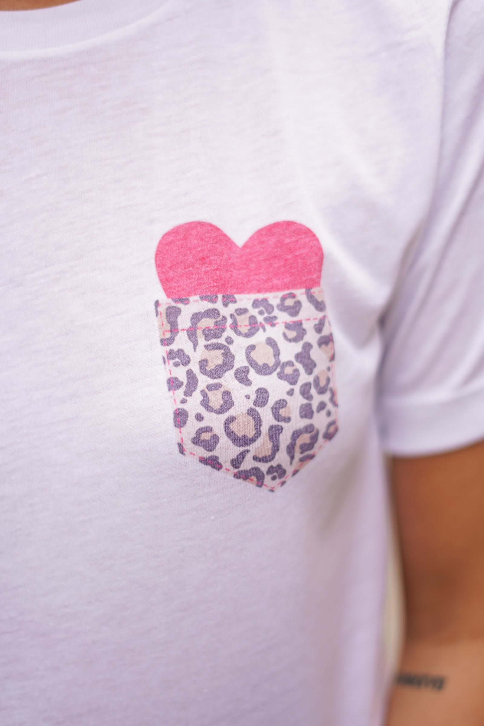 Leopard Pocket & Heart Tee