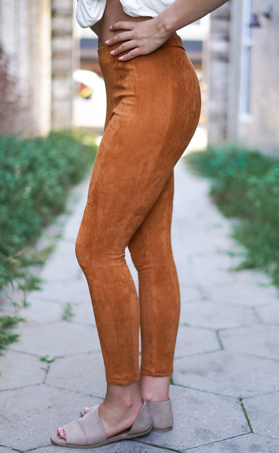 Kiss Somebody Faux Suede Leggings - Camel