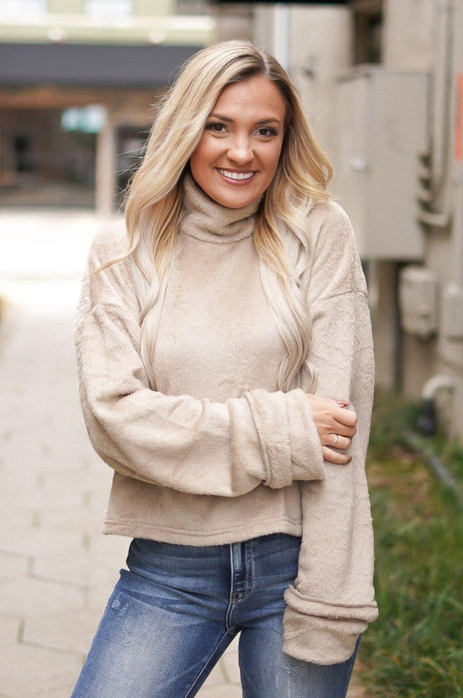 Serena Faux Fur Sweater - Taupe