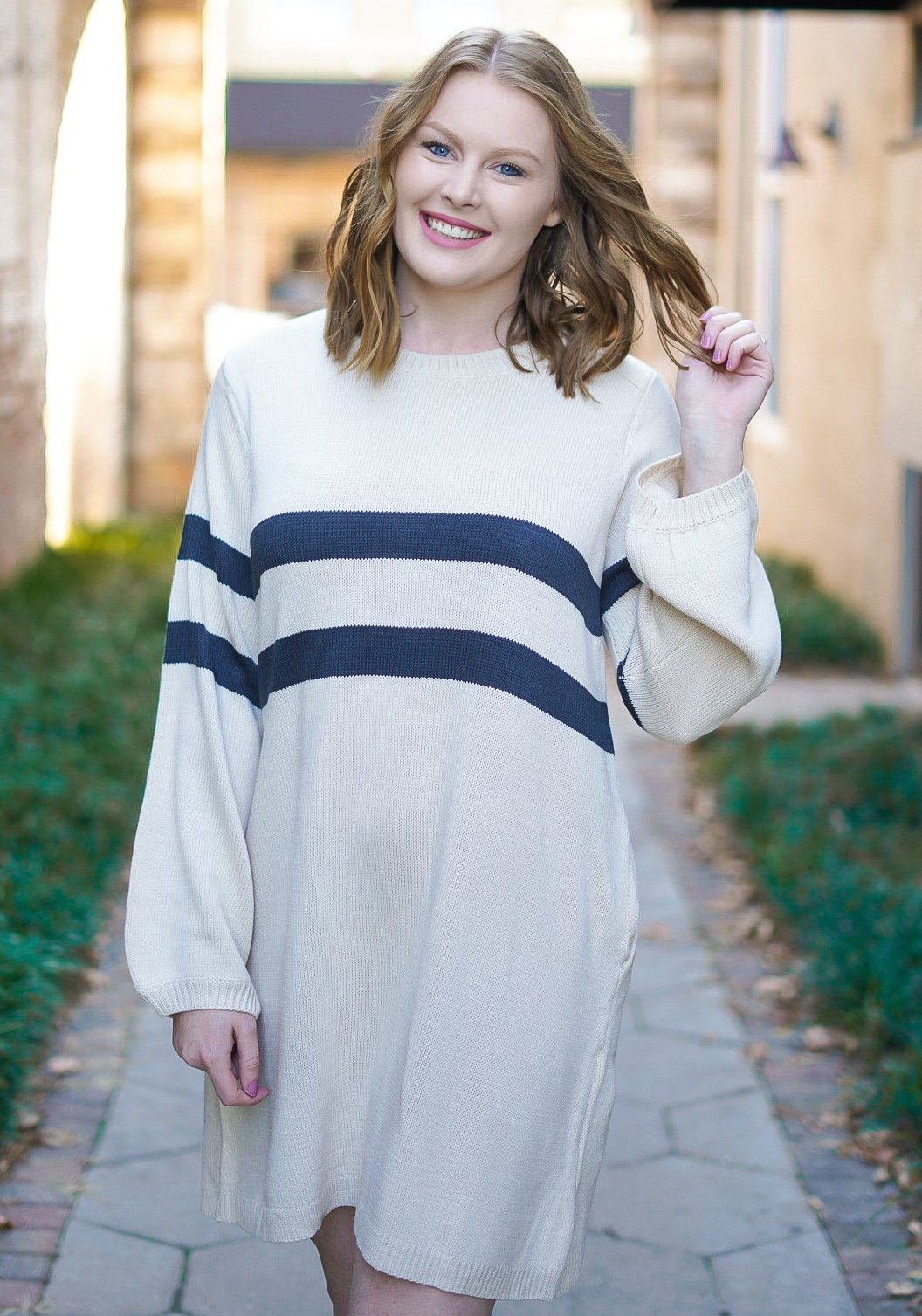Sassy Striped Sweater Dress