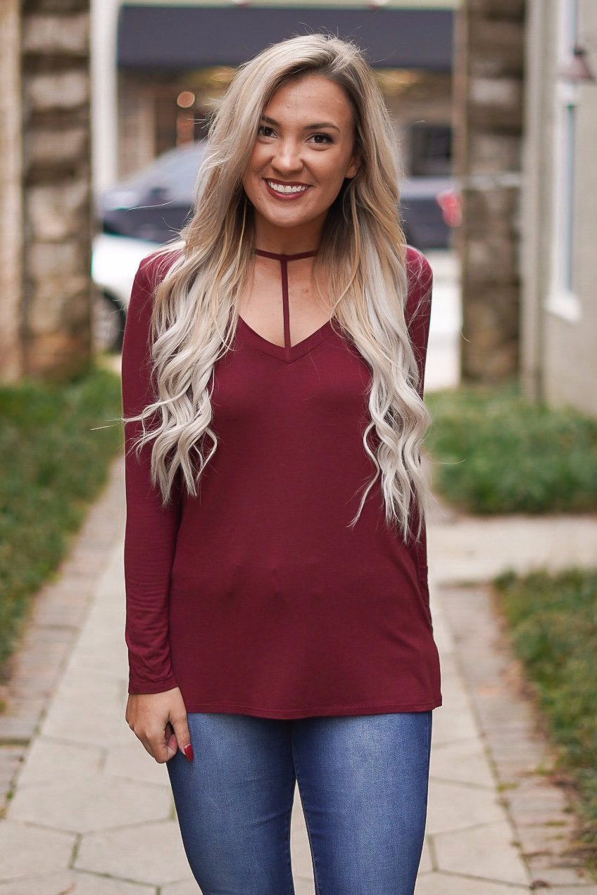 Undivided Attention Top - Maroon