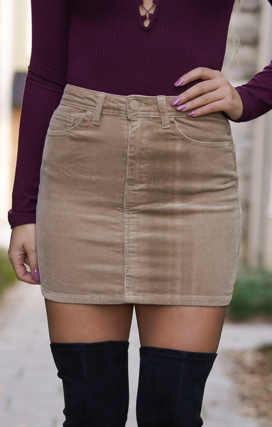 Corduroy Mini Skirt - Tan