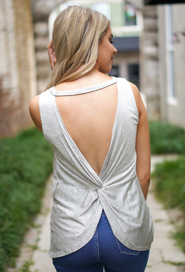 Skip A Beat Open Back Top - Grey
