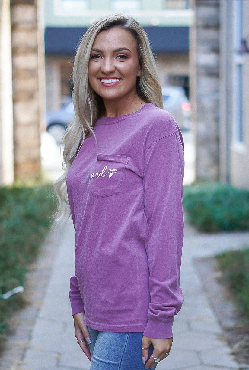 Rosie Daze Long Sleeve Pocket Tee - Berry