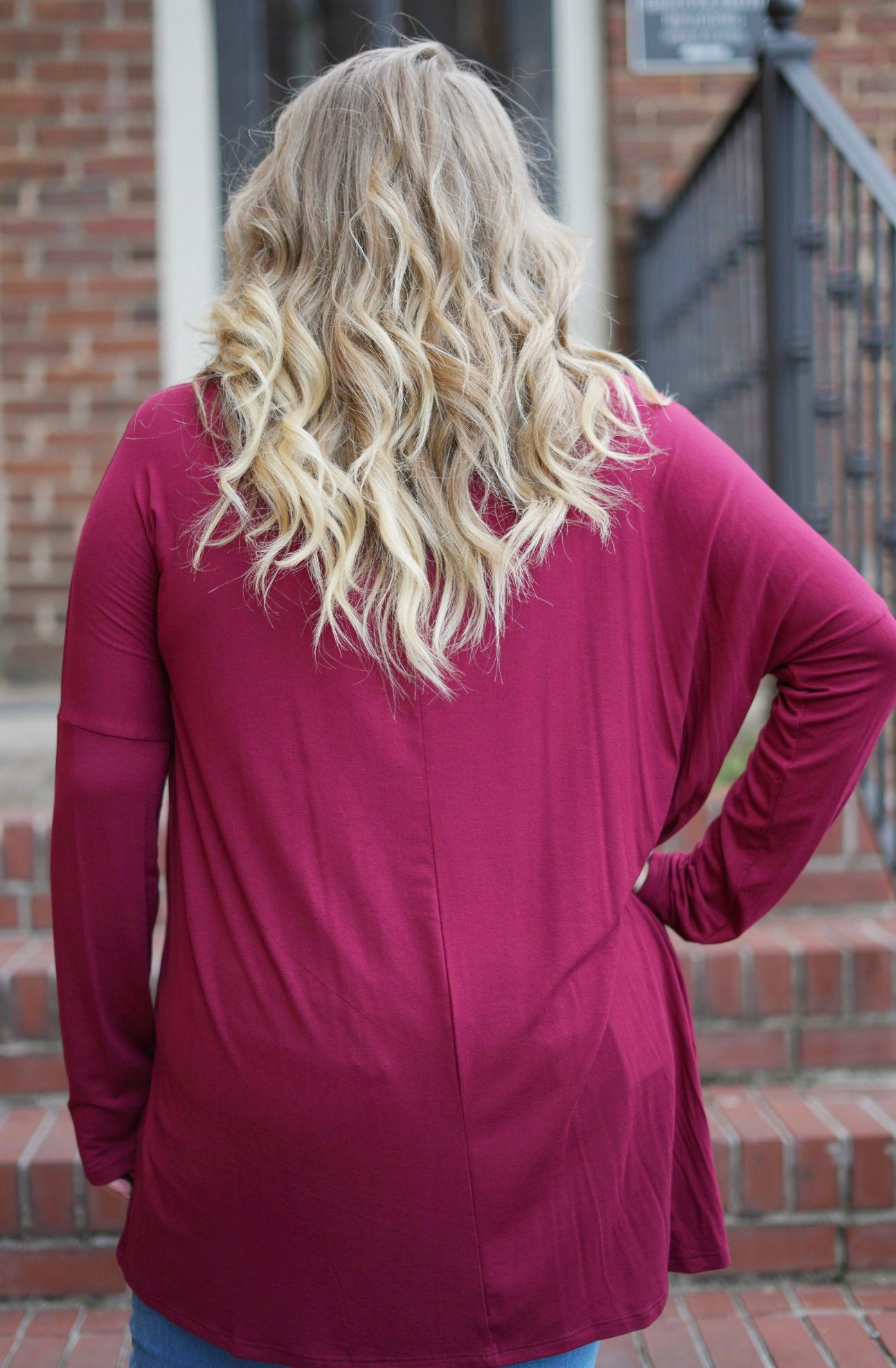 Beautifully Basic Long Sleeve Top - Burgundy