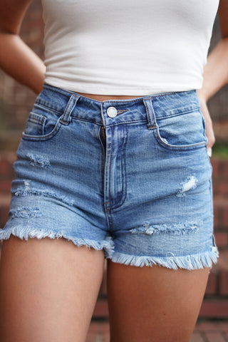 Downtown Distressed Denim Shorts